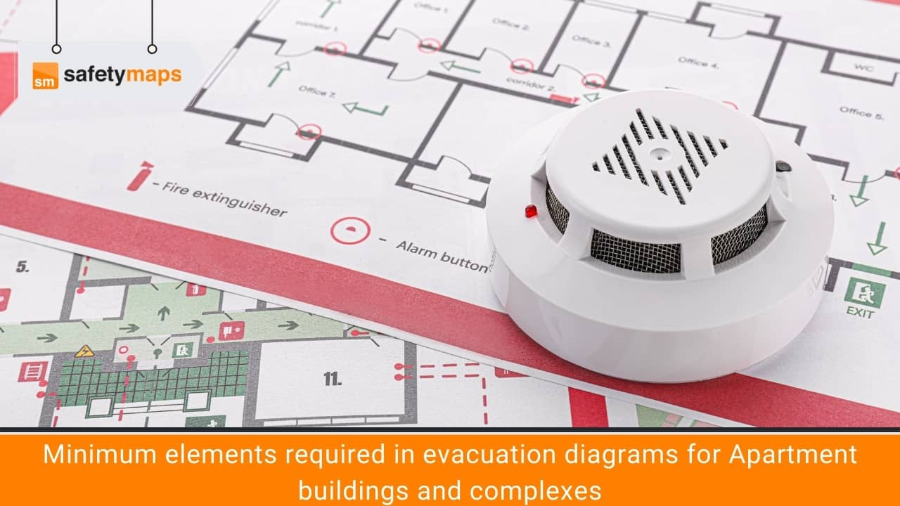 Minimum elements required in evacuation diagrams for Apartment buildings and complexes