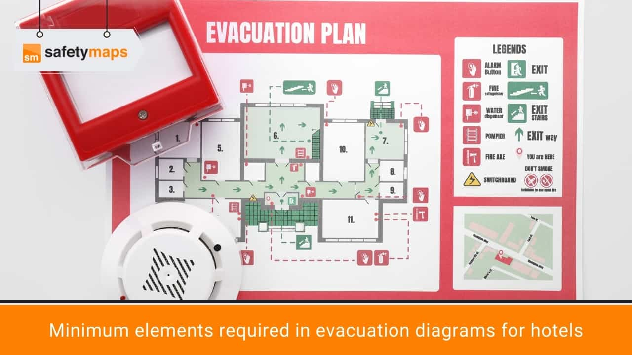 Minimum elements required in evacuation diagrams for hotels