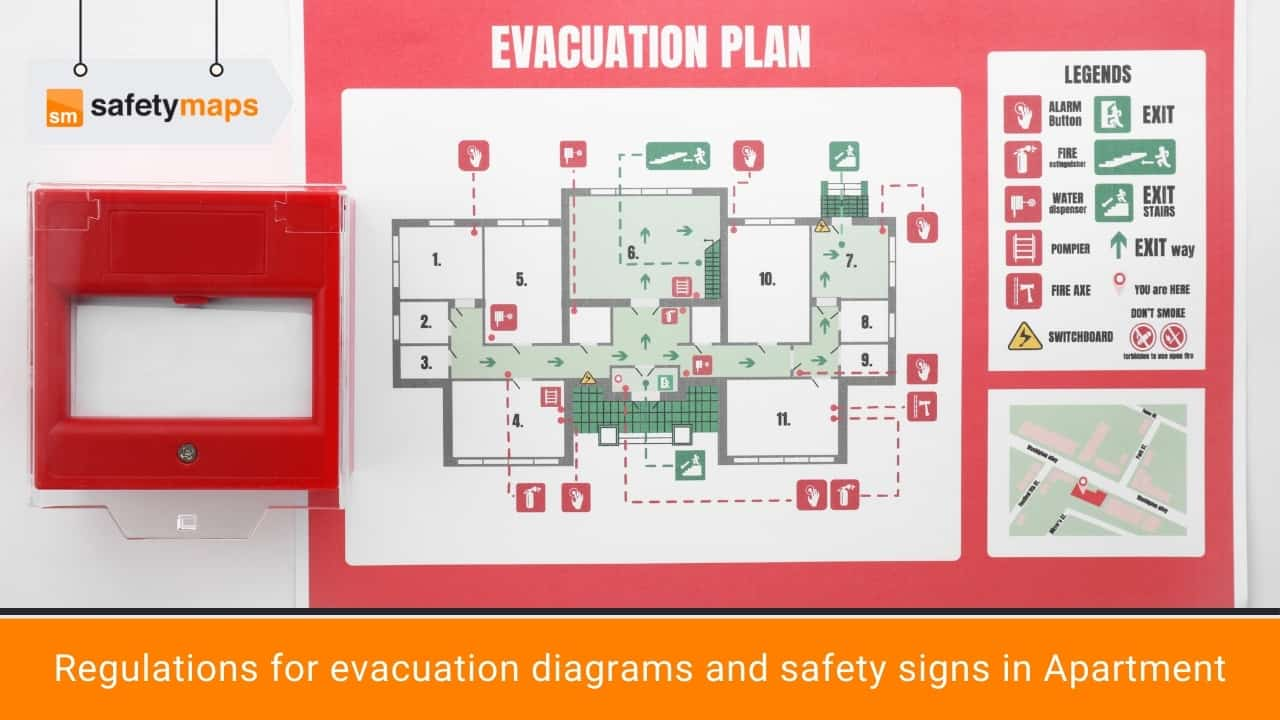 Regulations for evacuation diagrams and safety signs in Apartment