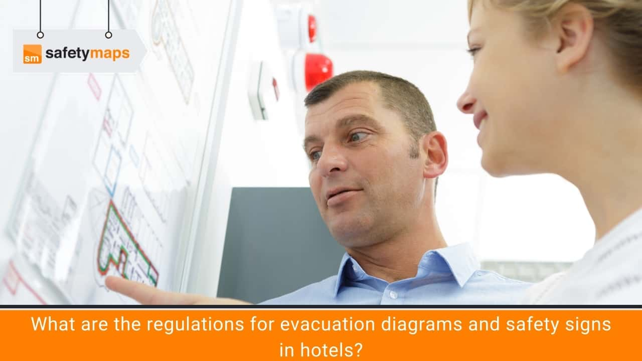 What are the regulations for evacuation diagrams and safety signs in hotels